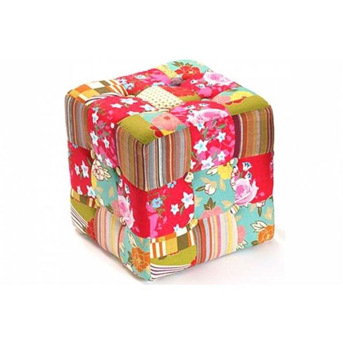pouf carr patchwork boh me multicolore wadiga la redoute. Black Bedroom Furniture Sets. Home Design Ideas