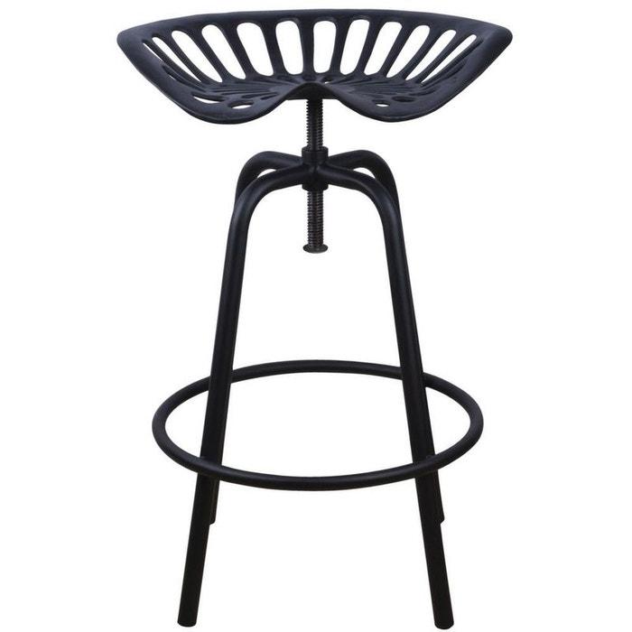 tabouret avec assise de tracteur en m tal vert noir jardindeco la redoute. Black Bedroom Furniture Sets. Home Design Ideas