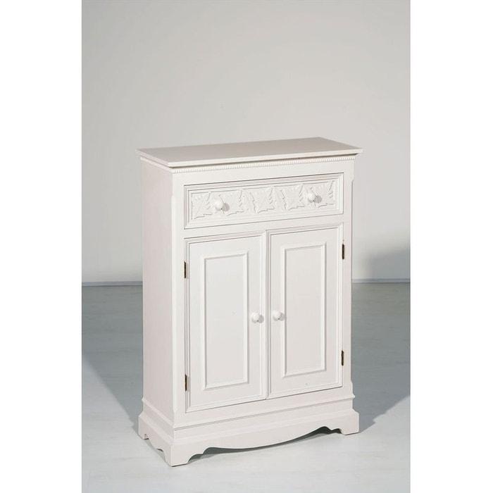 Buffet bois blanc 2 portes 1 tiroir 64x90cm lise blanc - Buffet bois blanc vieilli ...