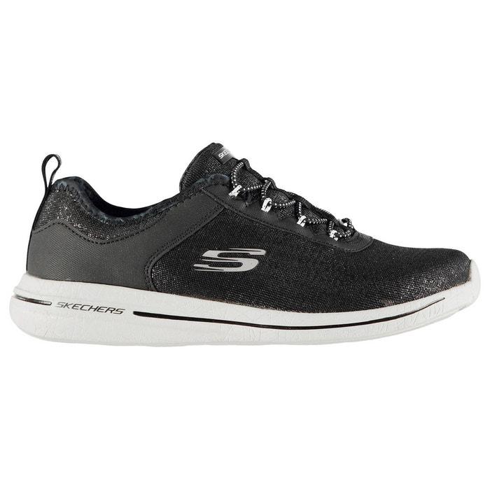 e81f61b0f52 Baskets de running lacets élastiques noir blanc Skechers