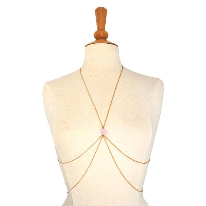 Bijou de corps chaîne dorée et pierre semi précieuse - MINERAL