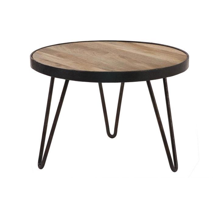 Table basse ronde design industriel 50x35 cm atelier bois verni miliboo la redoute - Table atelier industriel ...