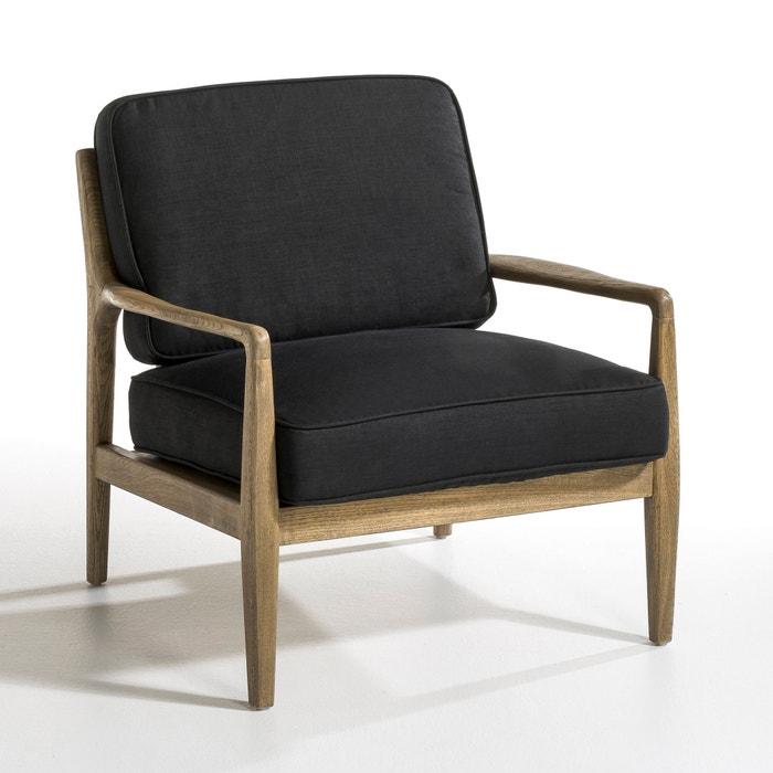 fauteuil toile lin dilma naturel noir am pm la redoute. Black Bedroom Furniture Sets. Home Design Ideas