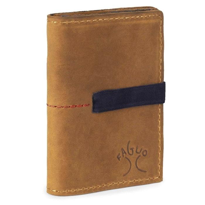 Porte-monnaie cuir wallet marron Faguo |