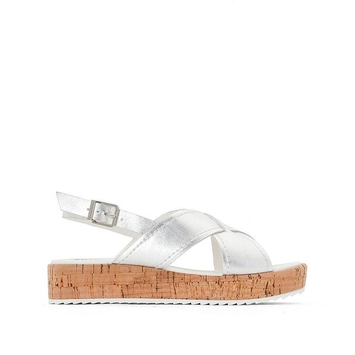 Sandales cuir compensées kraft argent Dune London Véritable Jeu RZdEaHIi