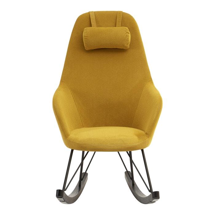 Rocking Chair In Yellow With Black Oak Veneer Legs