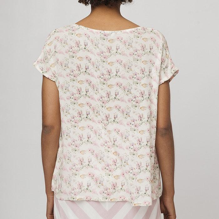 580152194d7 Блузка свободного покроя с цветочным рисунком и короткими рукавами экрю   розовый COMPANIA FANTASTICA