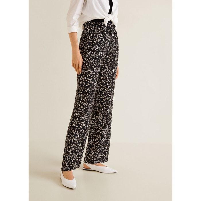 Pantalon imprimé floral noir Mango   La Redoute 37602e69be11