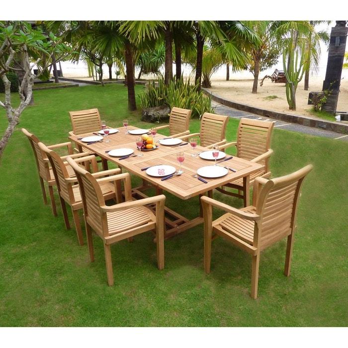 Salon de jardin en teck brut table 180-240 cm 8 fauteuils empilables ...