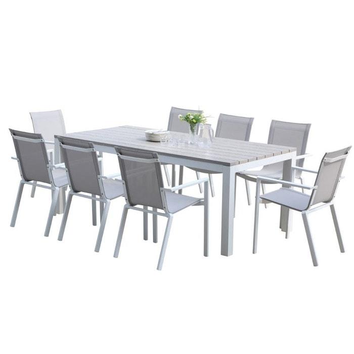 Salon de jardin en aluminium blanc et textilène gris 8 places