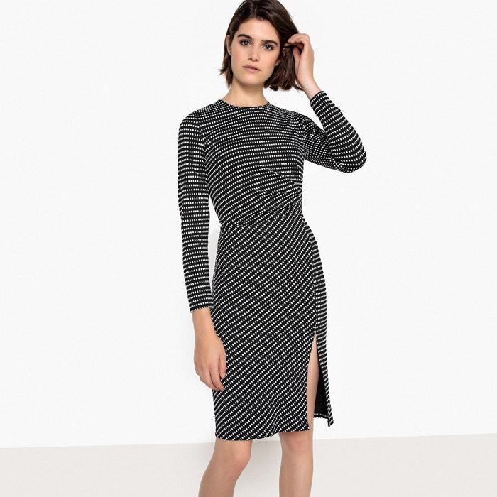 Платье облегающее с рисунком в горошек из джерси