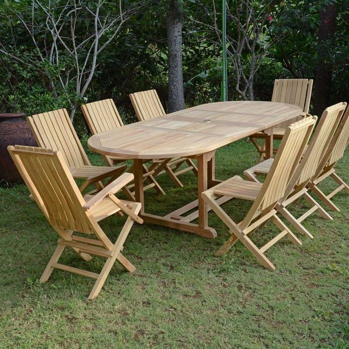Salon de jardin en teck ecograde fuji, table extensible avec 6 ...