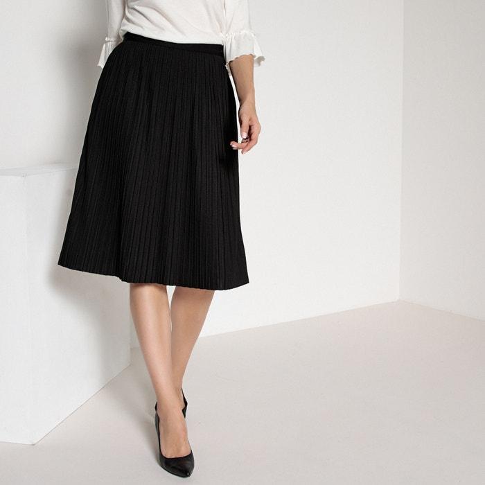 ec09a1a25c Knee-length pleated skirt black Anne Weyburn | La Redoute