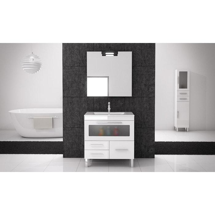 ensemble de salle de bain londres cristal meuble blanc brillant 100 cm blanc brillant mennza. Black Bedroom Furniture Sets. Home Design Ideas