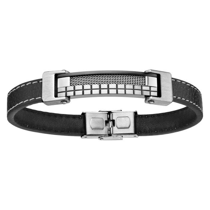 Bracelet 21,5 cm longueur réglable cuir noir plaque quadrillages acier inoxydable couleur unique So Chic Bijoux | La Redoute