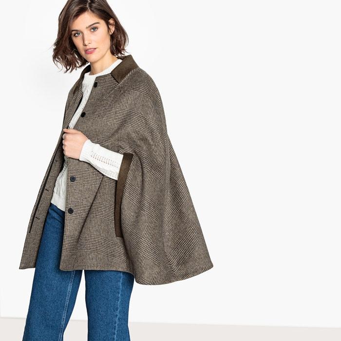 c7d7bd53b41b0 Cape à carreaux en laine mélangée La Redoute Collections carreaux marron   La  Redoute