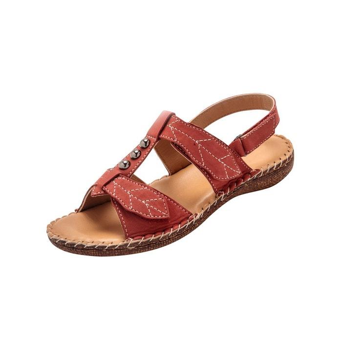 a358ba49b647ec Sandales ultra souples en cuir rouge Pediconfort | La Redoute