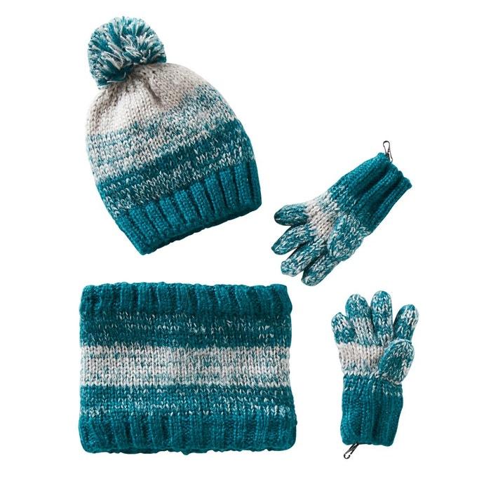 Bonnet garçon + snood + gants ou moufles emeraude gris Vertbaudet   La  Redoute d5bf719e0c7