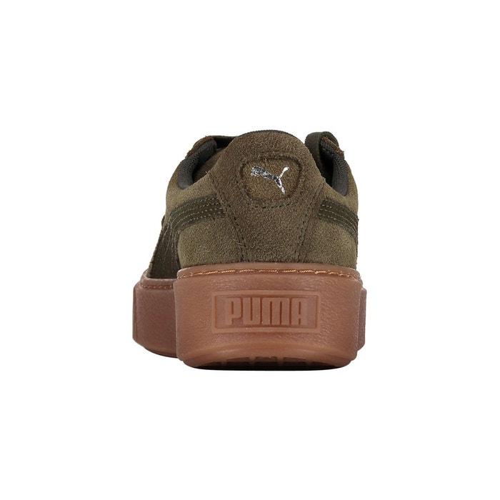 Baskets compensées suede platform gum kaki Puma