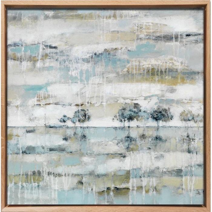 Tableau paysages arbres en teintes gris perlé caisse américaine en chêne massif 80x80cm pier import image