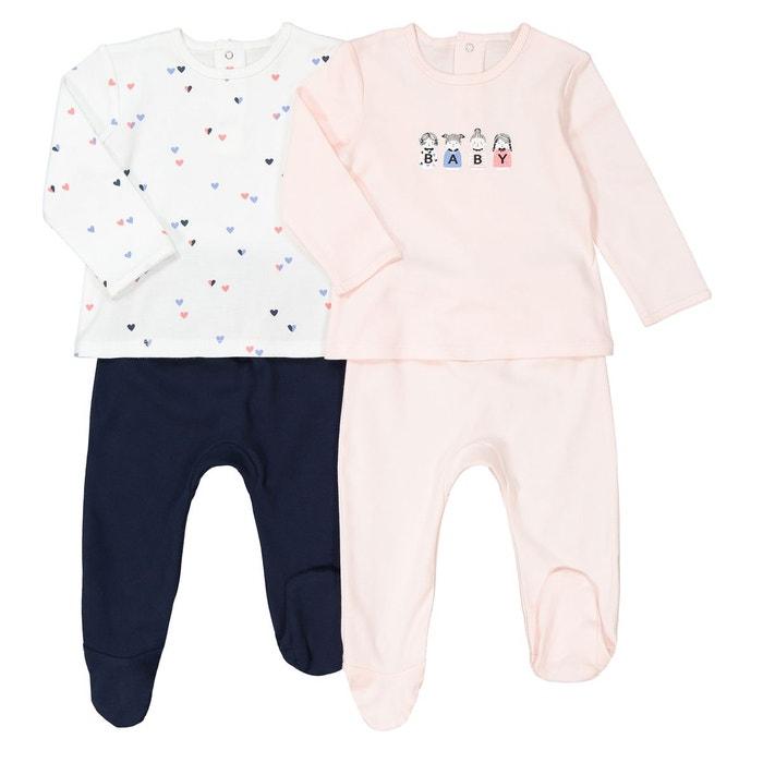 31b2e961c3e48 Lot de 2 pyjamas 2 pièces en coton 0 mois – 3 ans rose imprimé La Redoute  Collections
