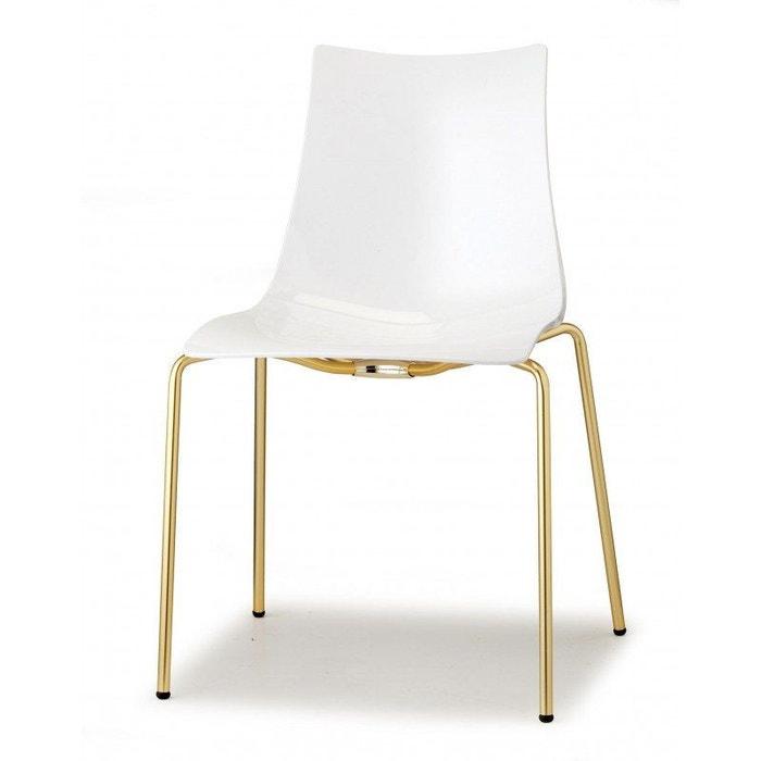 2 Chaises de salle à manger blanc brillant pieds laiton Boite à design