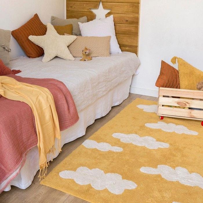 Nuages vintage bleu rectangle en coton avec franges tapis for Tapis oriental avec canapé vintage la redoute