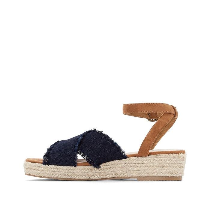 Sandales compensées corde pied large 38-45 bleu Castaluna