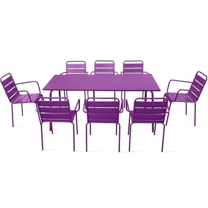table de jardin et 8 fauteuils en m tal oviala la redoute. Black Bedroom Furniture Sets. Home Design Ideas