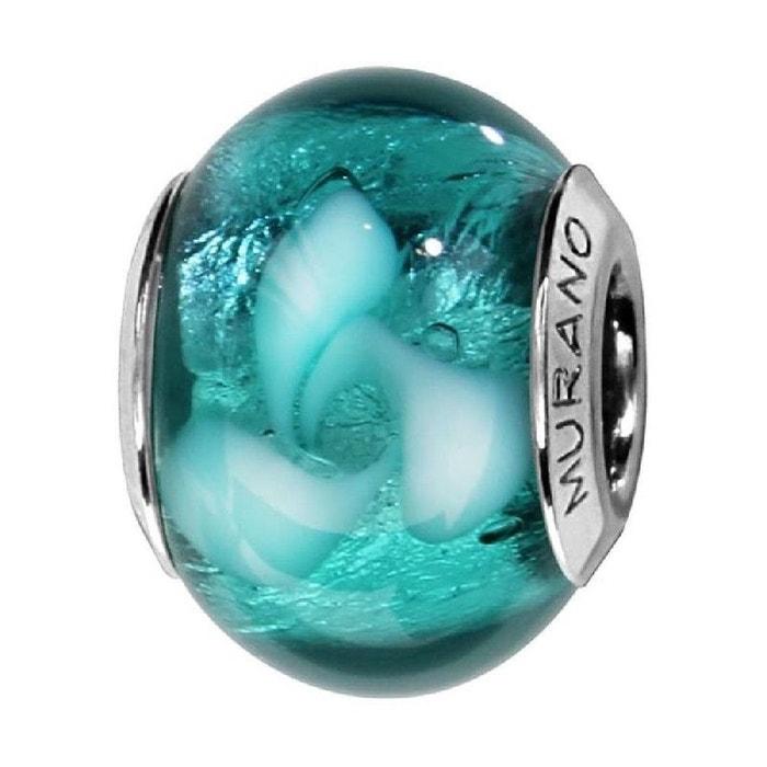 Charm Perle Verre Murano Bleu Turquoise Fleurs Blanches
