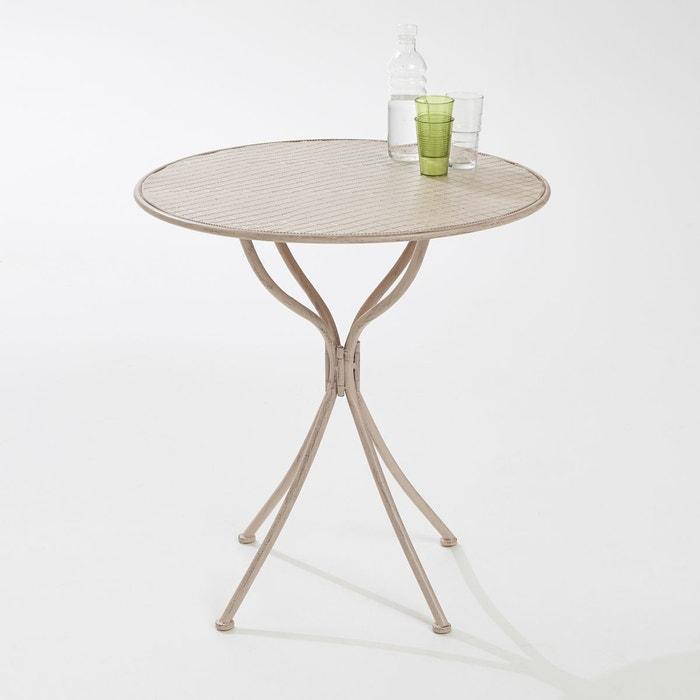 Table ronde de jardin en métal rose poudré