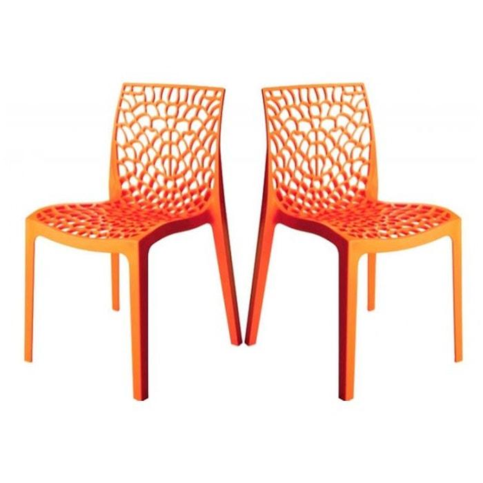 Lot De 2 Chaises Design Oranges Opaques FILET DECLIKDECO Image 0