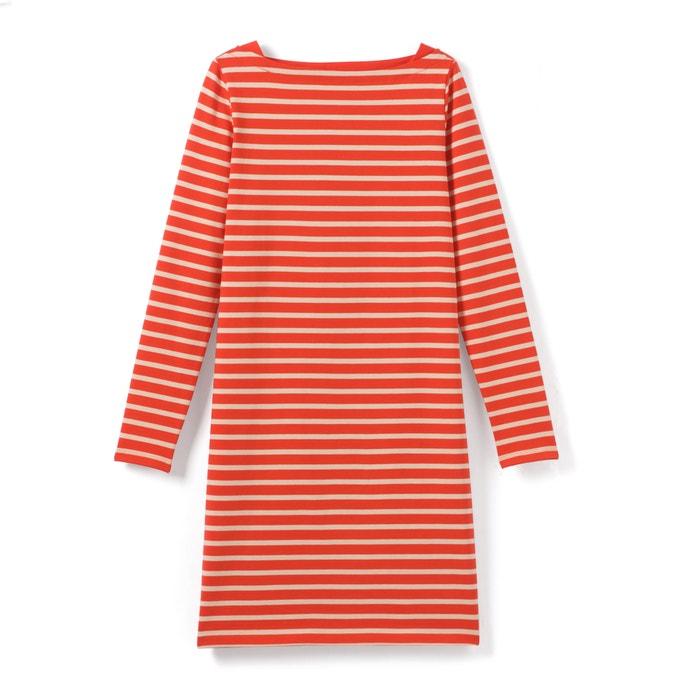 rayas a barco cuello Collections Vestido recto La Redoute q7zzw4