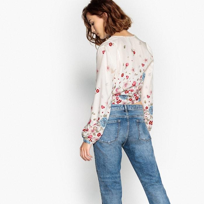 flores en Blusa de bajo pico con cuello el de estampado PEPE JEANS anudada 760qaa