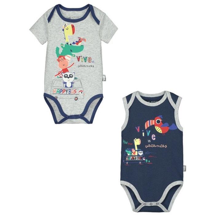 9e24016888502 Lot de 2 bodies bébé garçon happy holidays bleu Petit Beguin