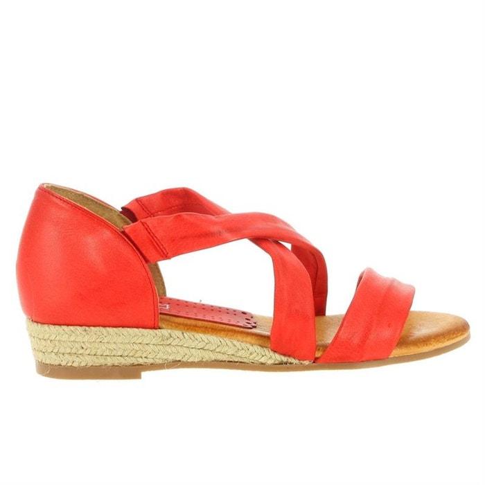 Sandales  /  nu-pieds cuir  rouge Marila  La Redoute