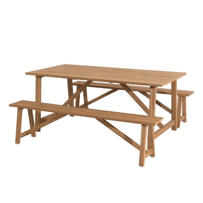 Salon de jardin contemporain bois teck table de jardin pieds tréteaux  180x100cm + 2 bancs 3 places BERGEN