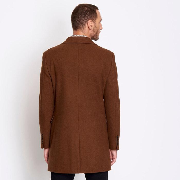 Manteau en drap de laine homme marron black coffee Devred   La Redoute c965ed0245fc