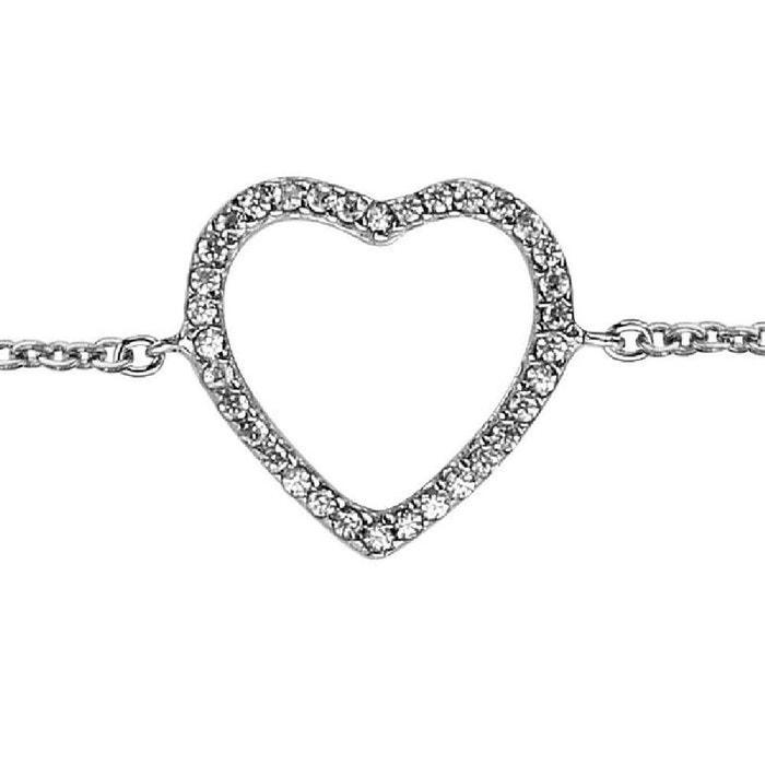 Bracelet longueur réglable: 16 à 17,5 cm coeur evidé oxyde de zirconium blanc argent 925 couleur unique So Chic Bijoux   La Redoute