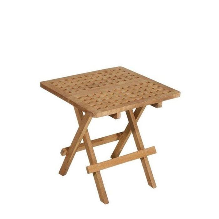 Table Basse D Appoint De Jardin Carree Pliante En Bois De Teck 50x50cm Summer