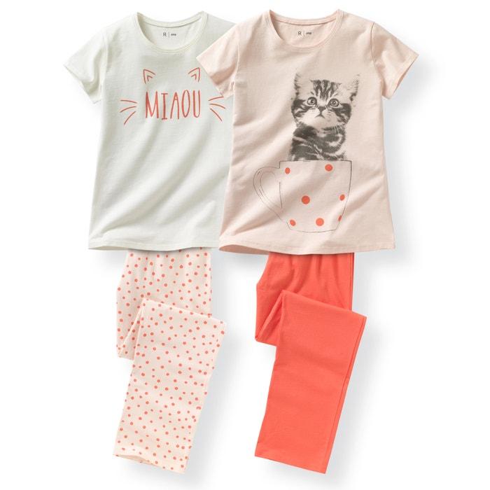 Image Pyjama jersey imprimé 10 - 16 ans (lot de 2) La Redoute Collections