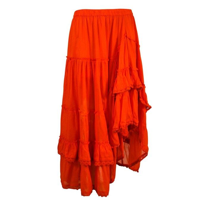 Unie Foncé Rouge Longue Coton Jupe srdthQ