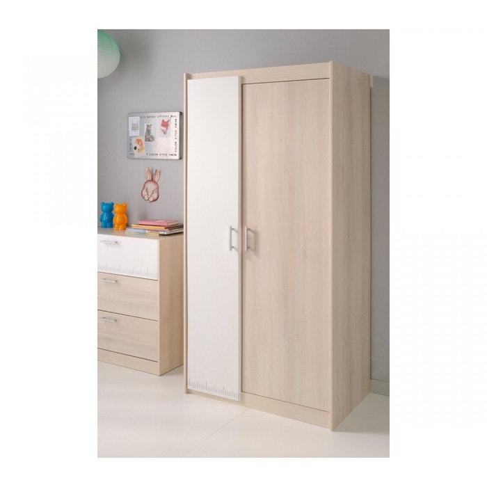 armoire 2 portes en bois blanc et acacia ar1007 bois. Black Bedroom Furniture Sets. Home Design Ideas