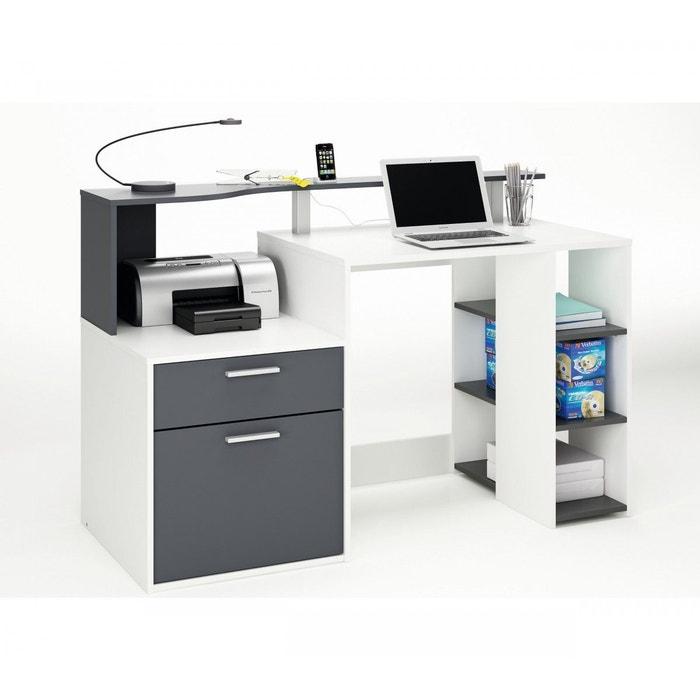bureau ordinateur compact gris graphite gris terre de nuit la redoute. Black Bedroom Furniture Sets. Home Design Ideas