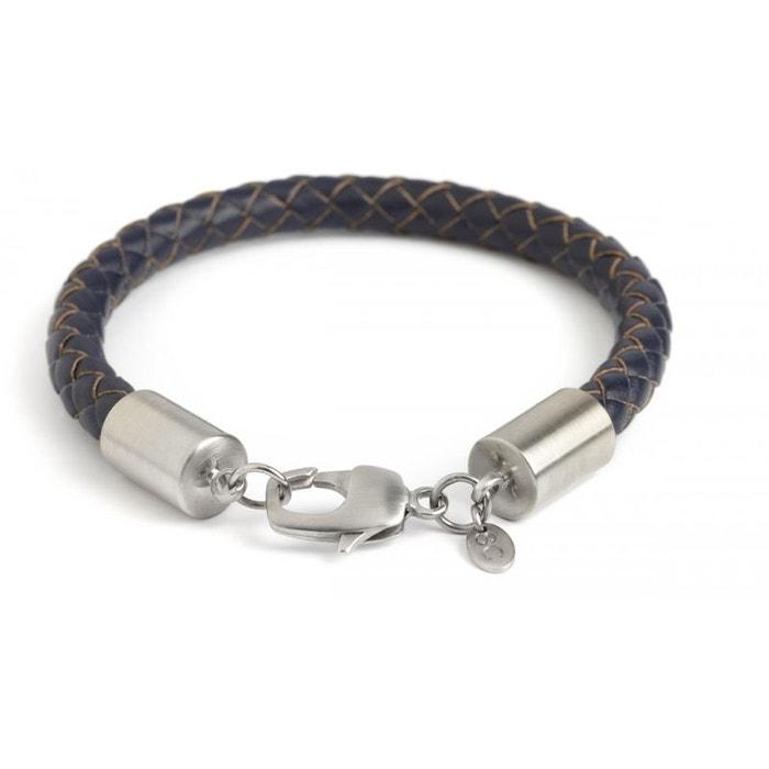 Bracelet cuir tressé marine, platine plaqué brossé, simon carter bleu Simon Carter | La Redoute