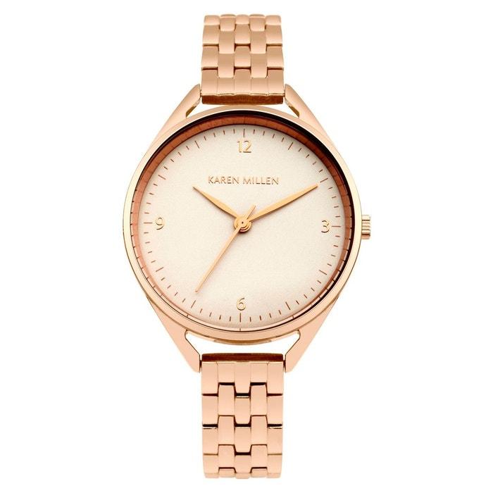 Montre femme analogique boitier rond 33 mm bracelet métal rose Karen Millen   La Redoute Clairance Nicekicks Jeu 100% Garanti JwjPDmM26