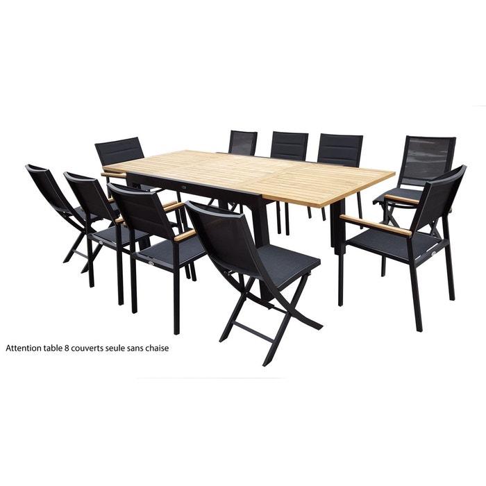 Table bali teck noir t6 10 tables ensembles bali teck noir couleur unique wilsa la redoute Table jardin teck la redoute