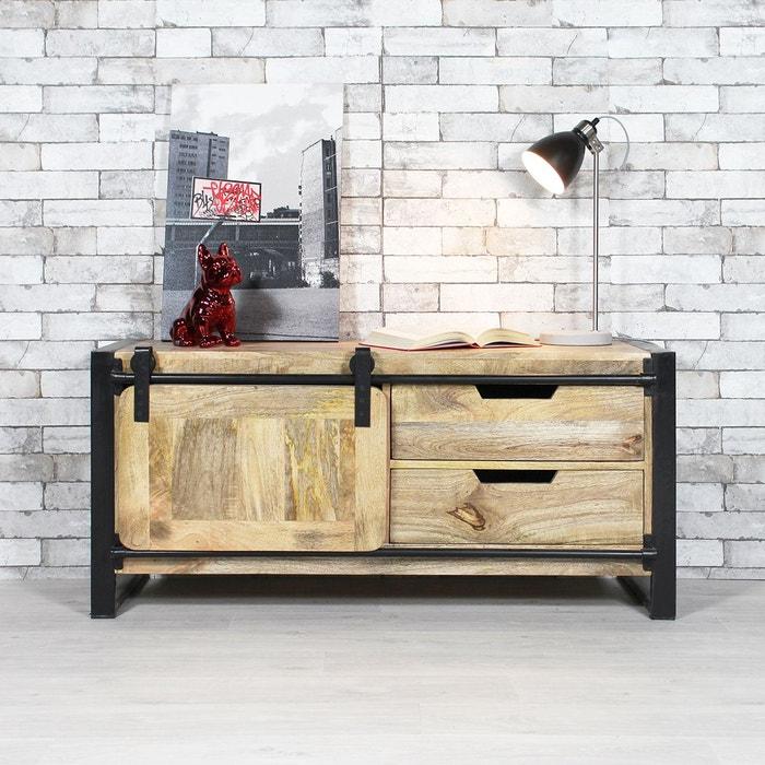 meuble tv industriel new york 1 porte mr4 naturel made in meubles la redoute. Black Bedroom Furniture Sets. Home Design Ideas