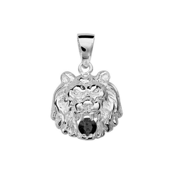 Pendentif lion oxyde de zirconium noir argent 925 couleur unique So Chic Bijoux   La Redoute Footlocker À Vendre Finishline Jeu Nouveau 2018 Escompte Bonne Vente Jeu 2018 S95AO