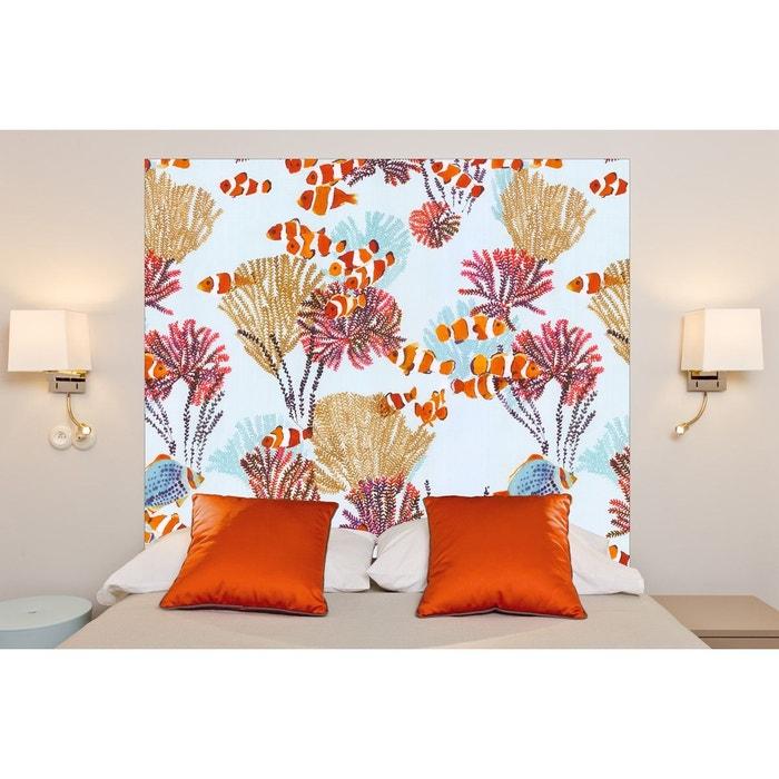 t te de lit en tissu coraux fixer au mur sans support en bois multicolore mademoiselle tiss. Black Bedroom Furniture Sets. Home Design Ideas